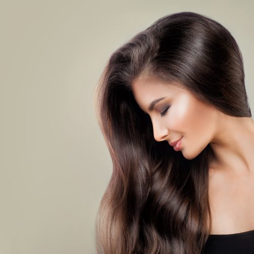 model with long brown highlighted hair