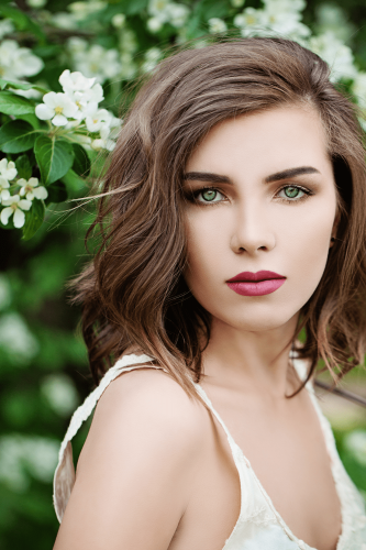 girl with short brown hair