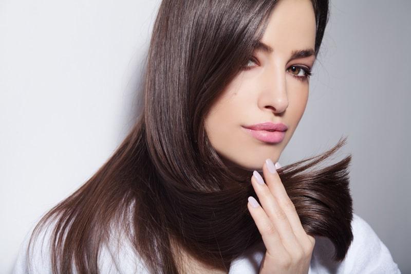 brunette model with long straight hair