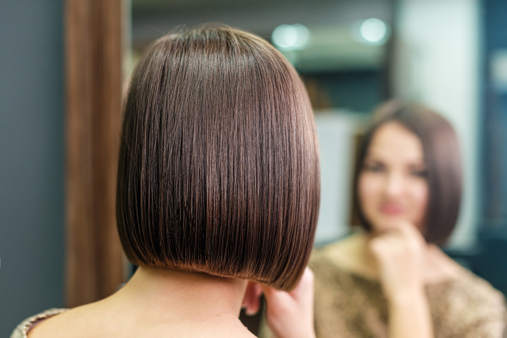 brunette model with blunt bob style