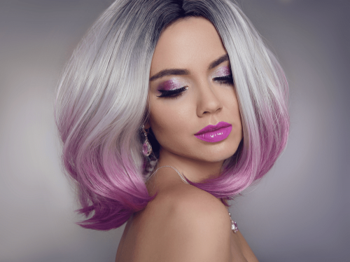 girl with silver and purple ombre hair