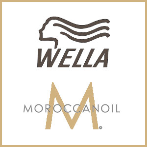 logos for Wella and Moroccanoil