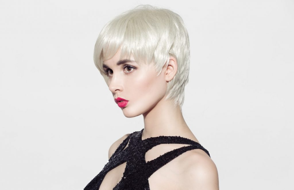 girl with short pixie blonde hair
