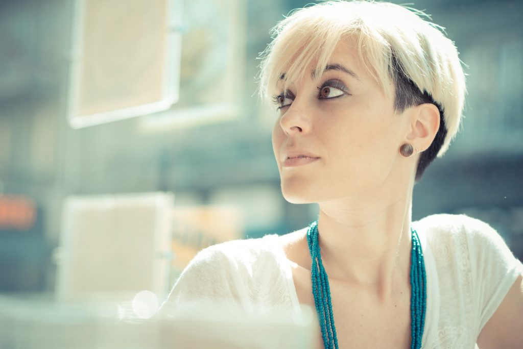 girl with short pixie cut