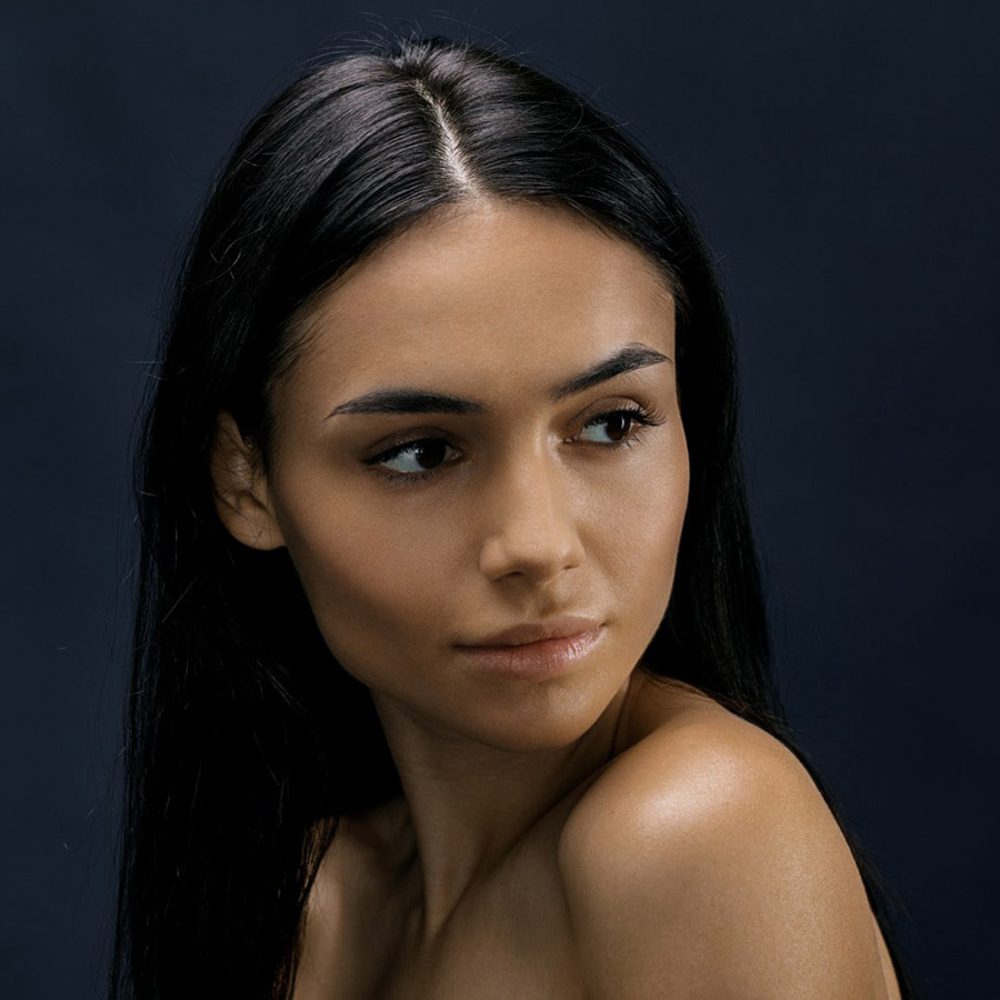 model with long straight black hair